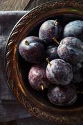 Organic Ripe Purple Prune Plums Stock Photos