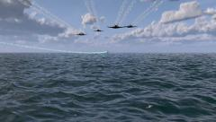 Fighter Jets Chasing Spacecraft Across The Ocean Stock Footage