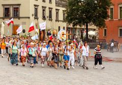 Warsaw. Religious procession of pilgrims Stock Photos