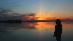 Silhouette at sunset Stock Footage