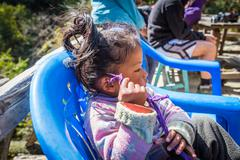 NARCHYANG, NEPAL-MARCH 19: Himalayas people 19, 2015 in Narchyang, Nepal. Peo - stock photo