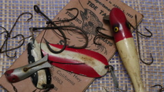 FISHING TACKLE , VINTAGE Stock Footage