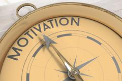 Stock Illustration of Composite image of compass pointing to motivation