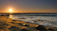 Sunset on the beach in Rozewie on the Baltic Sea Stock Footage