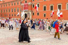 Warsaw. Religious procession of pilgrims - stock photo