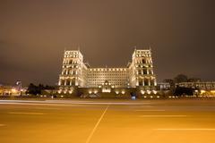 Moving car with blur light through baku city at night Stock Photos