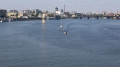 Stock Video Footage of Dnieper River summer time. Kiev, Ukraine. No color correction