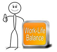 Stickman with Work Life Balance button - stock photo