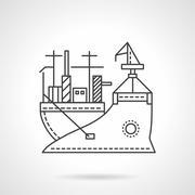Stock Illustration of Transport vessel line vector icon