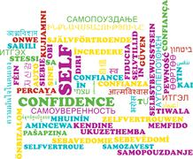 Self-confidence multilanguage wordcloud background concept - stock illustration