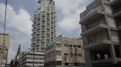 Hotel in Tel-Aviv, tilt down to street Stock Footage