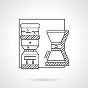 Office appliances line vector icon Stock Illustration