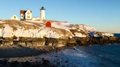 Time lapse of Winter Sunset at Nubble Light Stock Footage