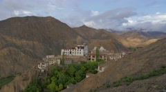TIMELAPSE Monastary,mountains clouds and shadows,Lamayuru,Ladakh,India Stock Footage