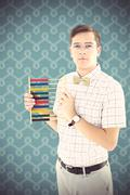 Composite image of geeky hipster holding an abacus - stock photo