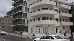 Renovated bauhaus building in Tel-Aviv Stock Footage