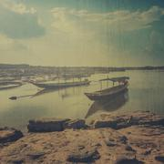 Boat at Sam Phan Bok in Thailand with texture effect Stock Photos