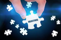 Stock Illustration of Objectives  against blue background with vignette