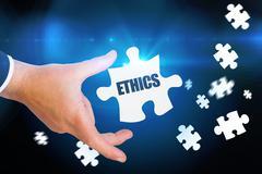Stock Illustration of Ethics against blue background with vignette