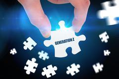 Stock Illustration of Generation z against blue background with vignette