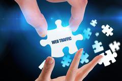 Stock Illustration of Web traffic against blue background with vignette