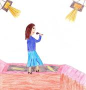 Child drawing of a singer performing on stage - stock photo