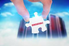 Stock Illustration of Generation z against composite image of server towers