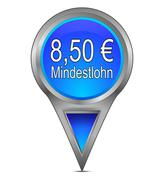 Map pointer with 8,50 Euro minimum wage - in german Stock Photos