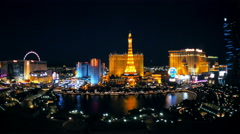 Las Vegas Strip Hotels & Casinos (Night - Editorial) Timelapse 4K Stock Footage