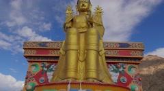 TIMELAPSE Huge Maitreya Buddha,Likir,Ladakh,India Stock Footage