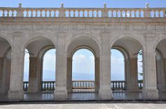 Arches architecture detail of old building in the Monastery of Monte Cassino Stock Photos