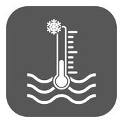 The cold water temperature icon. Icy liquid symbol. Flat - stock illustration