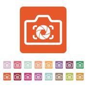 The camera icon. Photo and diaphragm, photographer, photographic symbol. Flat Stock Illustration