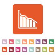 Stock Illustration of The graph down icon. Chart below and loss, reduction symbol. Flat