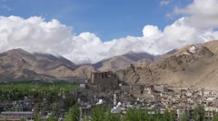 TIMELAPSE LEH town and palace,Leh,Ladakh,India Stock Footage