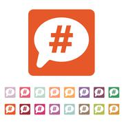 The hashtag icon. Social network and web communicate symbol. Flat Stock Illustration