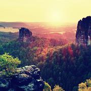 Popular climbers resort in Saxony national park, Germany. Sharp sandstone cli Stock Photos