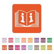 The open book icon. Manual and tutorial, instruction, encyclopedia symbol. Flat Stock Illustration