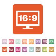 The aspect ratio 16 9 widescreen  icon. Tv and video symbol. Flat Stock Illustration