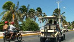Golf Car Drive The Tropic Road Stock Footage