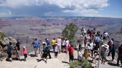 Stock Video Footage of Grand Canyon - Viewpoint Crowd