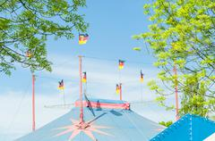 Circus tent with flags - stock photo