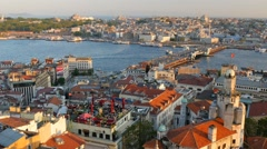 View to Golden Horn from Galata tower. Istanbul, Turkey Stock Footage