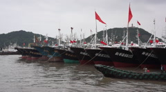 Fishing ships in Zhoushan port Stock Footage