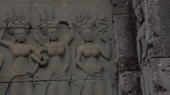 Pan engraved statues - Angkor Wat Stock Footage