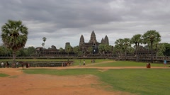 sunset - postcard wide shot of Angkor Wat complex - stock footage