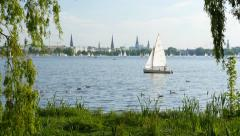 View of the Alster lake in Hamburg. UHD, 4K Stock Footage