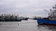 Fishing ships sailing into Zhoushan port Stock Footage