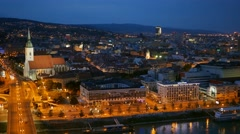 Bratislava, Slovakia. Night view of old castle and old town. UHD, 4K Stock Footage