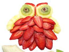 creative fruit child dessert owl bird form - stock photo